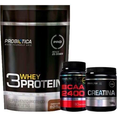 Kit Combo Whey Protein 3w 835g + Creatina + Bcaa Probiótica - R  137 ... 25d49d27e55e2