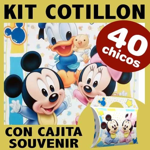 kit combo x 40 disney bebe mickey donald cotillon cajita