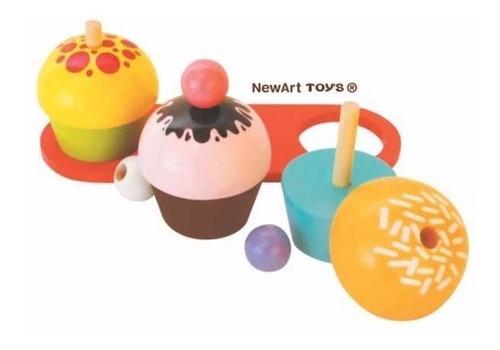 kit comidinha de madeira cupcake cup cake brinquedo crianças