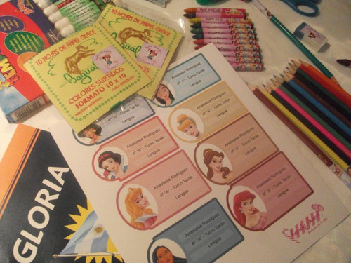 kit completo. 152 stickers p/útiles escolares personalizados