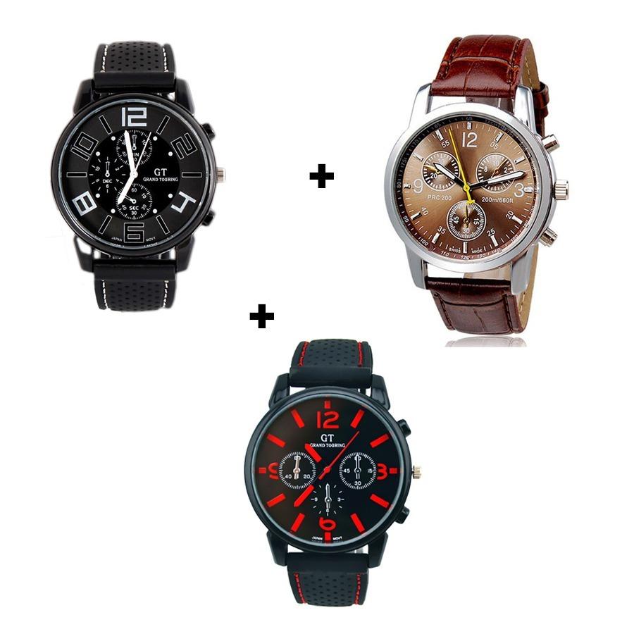 e2c04e82560 Kit Completo 3 Relógios Masculinos Silicone E Couro Barato - R  120 ...