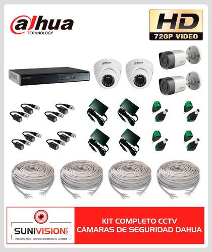 kit completo 4 camaras de seguridad dahua hd 720p cvi