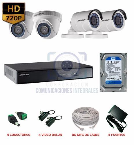 kit completo 4 camaras hikvision hd 1tb cctv dvr accesorios