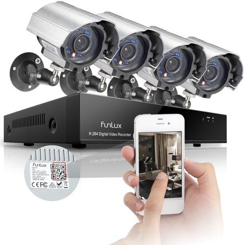 kit completo 4 camaras monitoreo celular, dvr, bases, cables