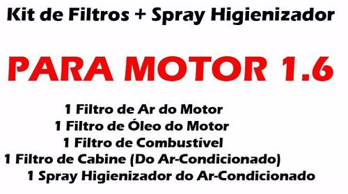 kit completo 4 filtros + spray gol voyage g5 g6 motor 1.6