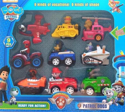 kit completo 9 carrinhos patrulha canina brinquedo a fricção