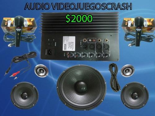 kit completo audio amplificador 2 woofer  ideal para rockola