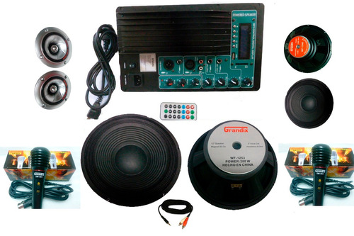 kit completo audio amplificador 2 woofer y usb ideal rockola