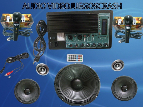 kit completo audio amplificador 2 woofer y usb ideal rockola