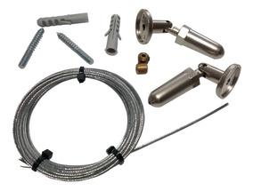 Kit Completo Barral Para Cortinas Tensor Con Cable De Acero