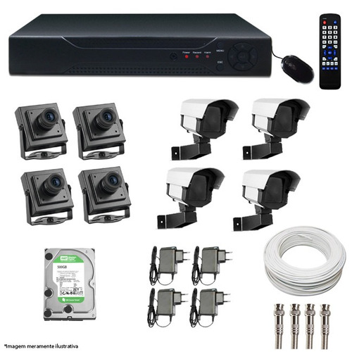 kit completo cftv dvr cameras acessorios monte o seu