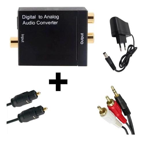 kit completo conversor ótico tv p caixa externa home jack p2