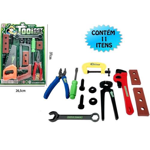 kit completo de ferramentas infantil com serrote, chaves e +
