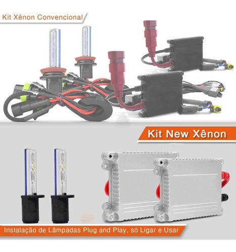 kit completo new xênon h1 8000k 12v 35w  plug and play