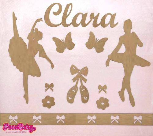 kit completo painel mdf cru bailarinas decoração quarto bebê