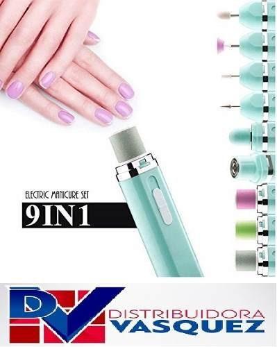 kit completo set de manicura 9 en 1 electrico uñas