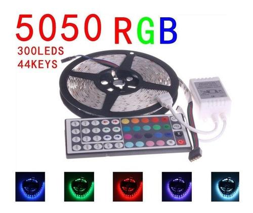 kit completo tira 5 metros 300 led rgb 5050 44 boton cipres