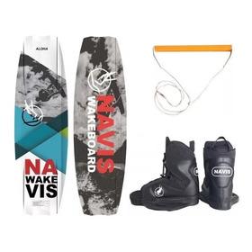 Kit Completo Wakeboard Navis Prancha Aloha + Par De Botas + Manete Com Cabo Wake Board Esqui Aquático