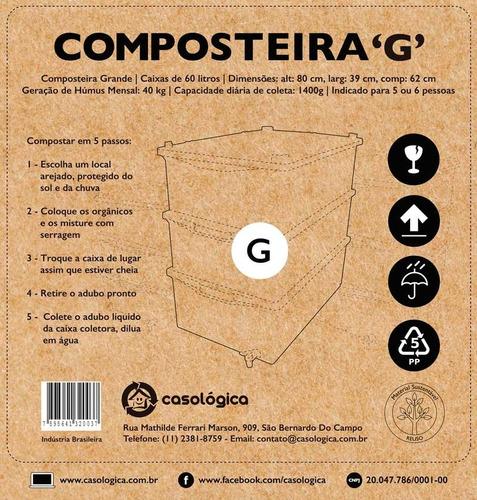 kit composteira doméstica / minhocário g + minhocas + frete