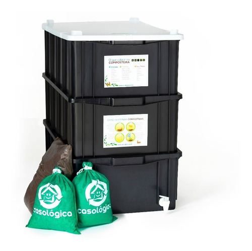 kit composteira doméstica / minhocário m + kit - casológica