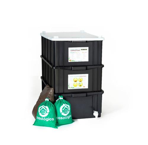 kit composteira doméstica / minhocário m + minhocas + frete