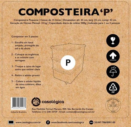 kit composteira doméstica / minhocário p + minhocas + frete