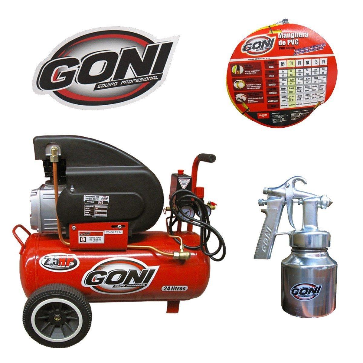 Kit compresor goni 2 5 hp 25 litros 2 en - Compresor de aire 25 litros ...