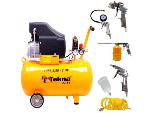 kit compressor de ar 50l cp8550 + kit pintura 5 peças tekna