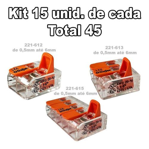 kit cone wago 15 un. 221-612 + 15un. 221-613 + 15un. 221-615