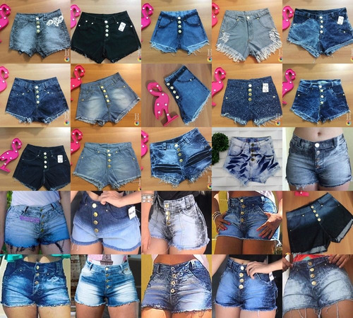 kit conjunto, 5 cropped e 5 short jeans, atacado, barato