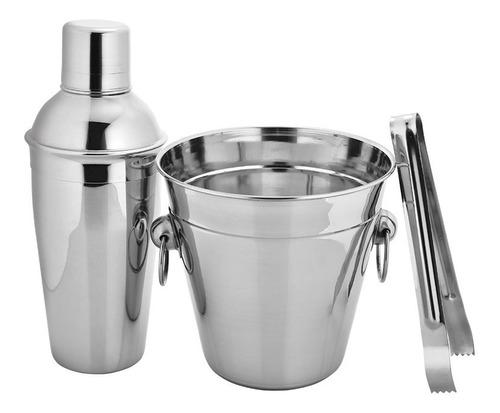 kit conjunto balde de gelo para bar coqueteleira e pegador em aço inox hauskraft excelente acabamento champagne bebidas