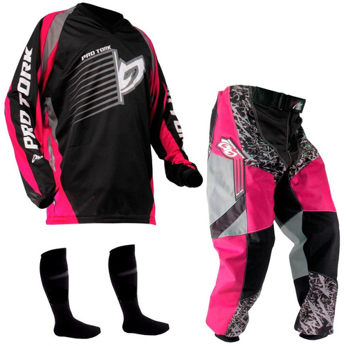 kit conjunto calça camisa insane pro tork  rosa feminino
