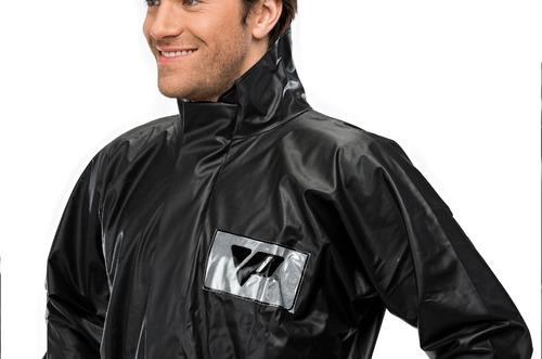 kit conjunto capa de chuva pvc impermeável motoqueiro c/gola