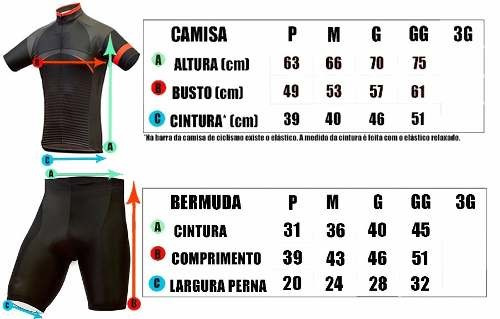 kit conjunto ciclista masculino bermuda + camisa p-m-g-gg-3g