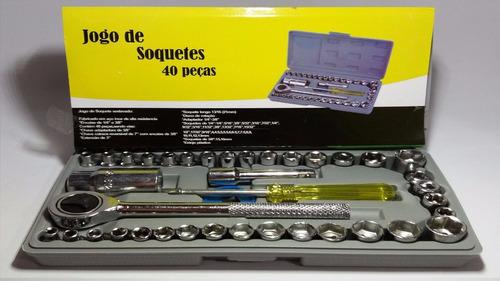 kit conjunto de chaves soquete com catraca 40 peças idea
