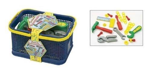 kit conjunto de ferramentas infantil + cesta de armazenagem