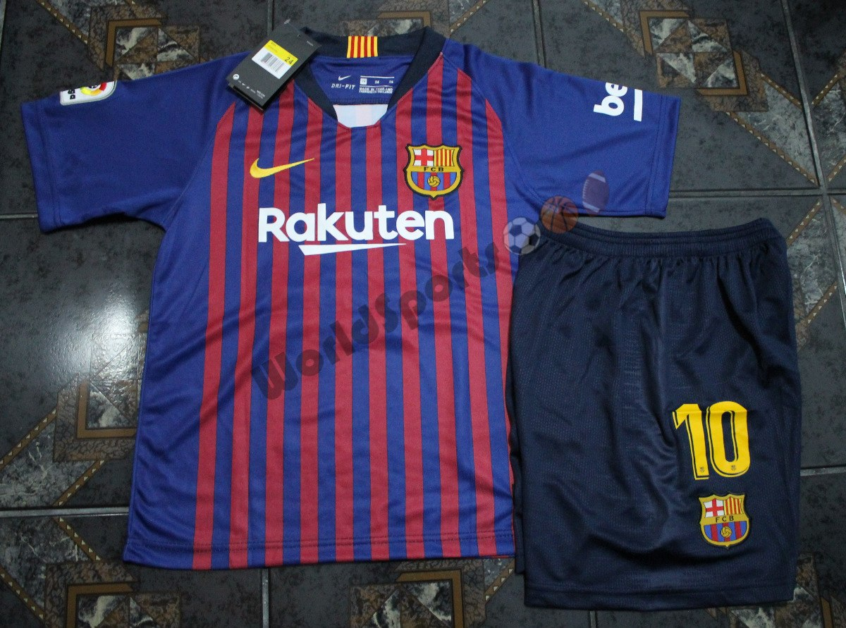 9802a60c2d kit conjunto infantil barcelona messi 18 19. Carregando zoom.