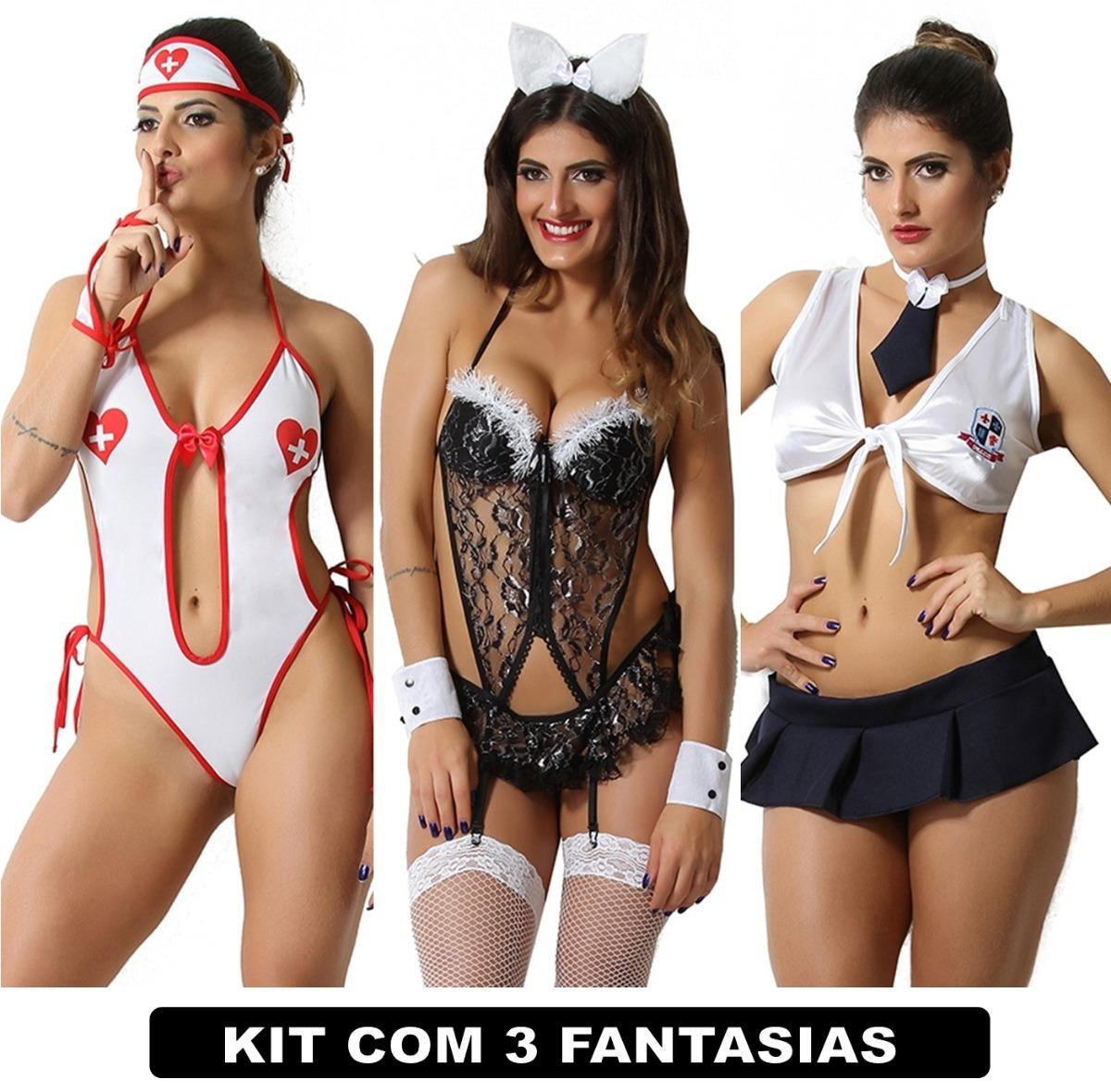 3e538d8b3 Kit Conjunto Lingerie Atacado Com 3 Uni Fantasias Eroticas - R  103 ...