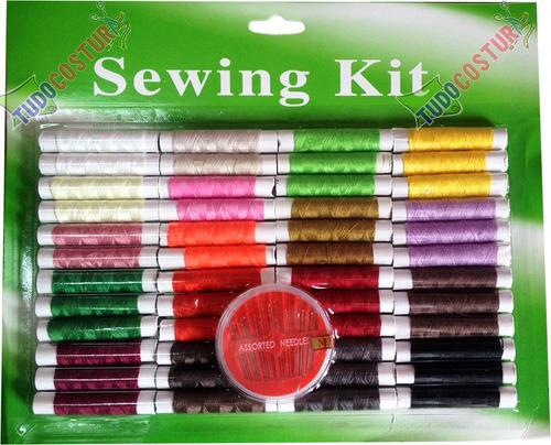 kit conjunto linhas agulhas acessórios costura manual reparo