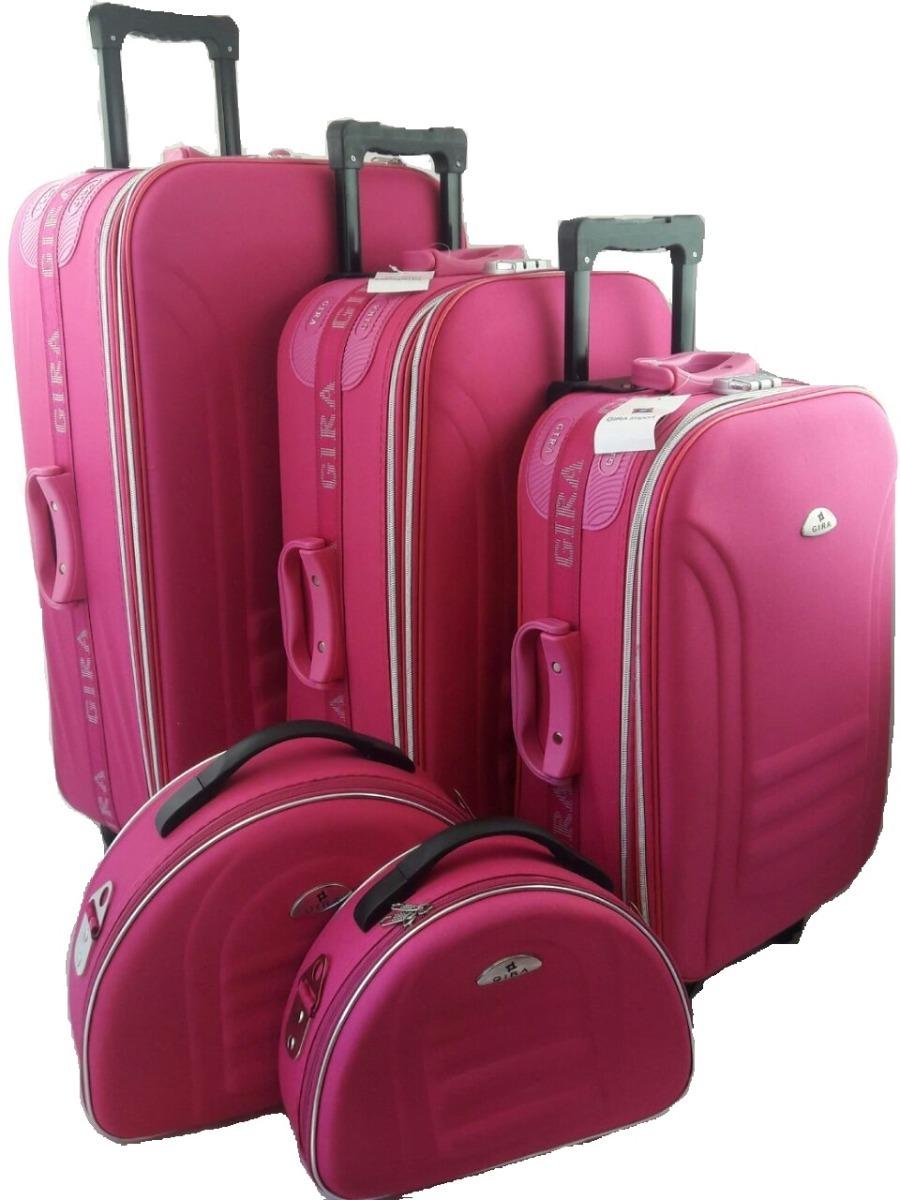 kit conjunto mala de viagem com rodinha com franqueira rosa r 690 00 em mercado livre. Black Bedroom Furniture Sets. Home Design Ideas