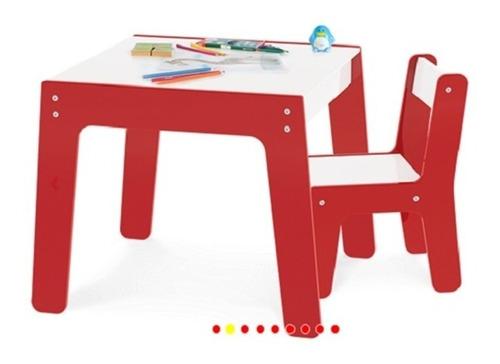 kit conjunto mesa infantil em madeira com cadeira vermelha
