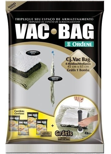 kit conjunto saco à vácuo vac bag 4 embalagens médio + bomba