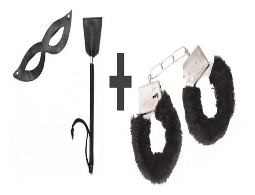 kit conjunto tiazinha com máscara chibata+algema de pelucia