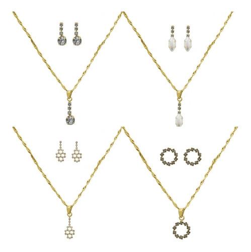 kit contendo 15 peças sendo 5 conjuntos folheados ouro 18k