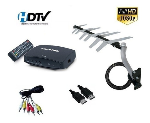 kit conversor digital aquário + antena externa digital hdtv