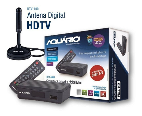 kit conversor digital dtv4000 + antena dtv100  s/hdmi