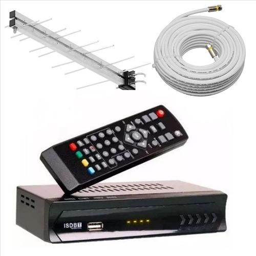 kit conversor digital lotus antena externa cabo 10m