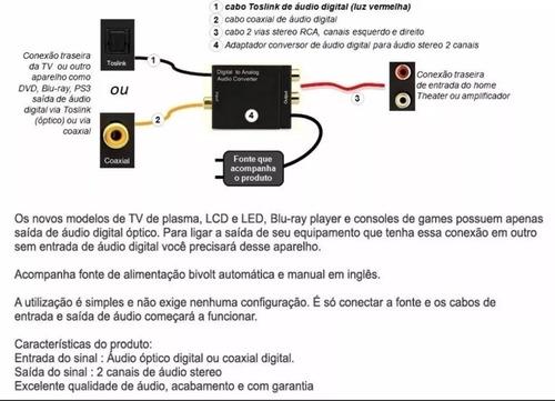 kit conversor óptico audio digital smart tv lg samsung som