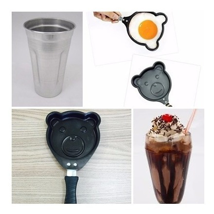 kit copo milk shake 700ml + frigideira ursinho em teflon