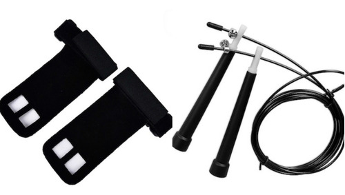 kit corda de pular speed rope + luva hand grip couro